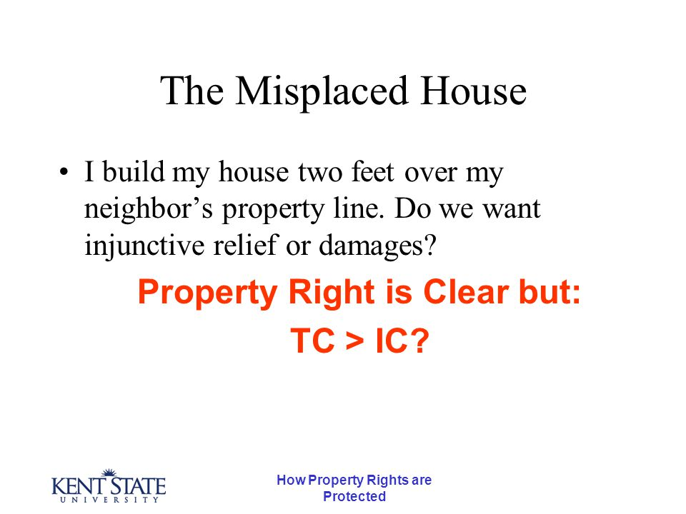 How Property Rights are Protected The Misplaced House I build my house two feet over my neighbor's property line.