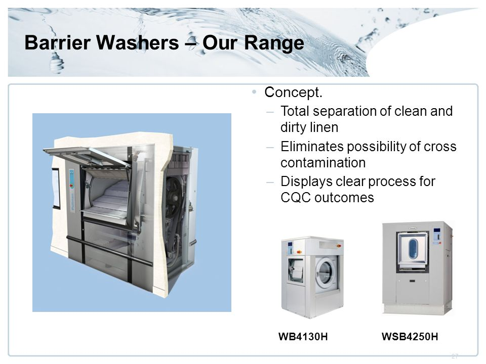 27 Barrier Washers – Our Range Concept.