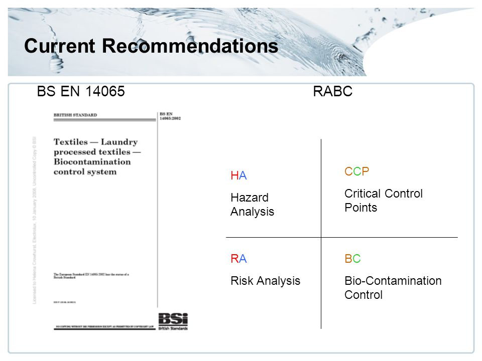 Current Recommendations BS EN 14065RABC HA Hazard Analysis CCP Critical Control Points RA Risk Analysis BC Bio-Contamination Control