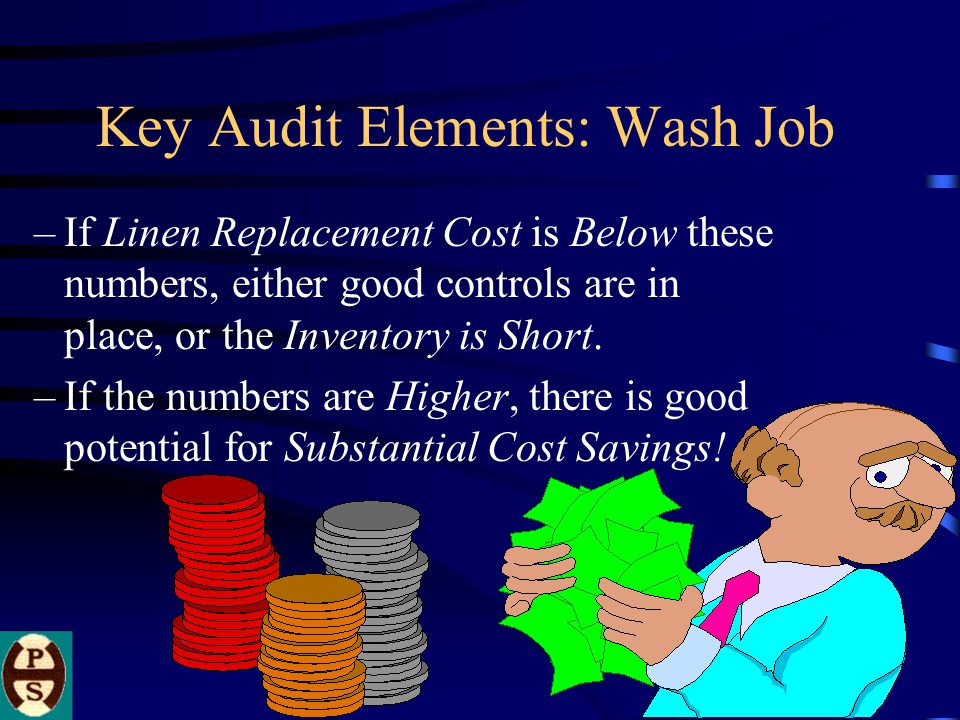Key Audit Elements: Wash Job –If Linen Replacement Cost is Below these numbers, either good controls are in place, or the Inventory is Short.