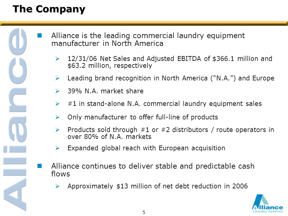 5 The Company nAlliance is the leading commercial laundry equipment manufacturer in North America  12/31/06 Net Sales and Adjusted EBITDA of $366.1 million and $63.2 million, respectively  Leading brand recognition in North America ( N.A. ) and Europe  39% N.A.