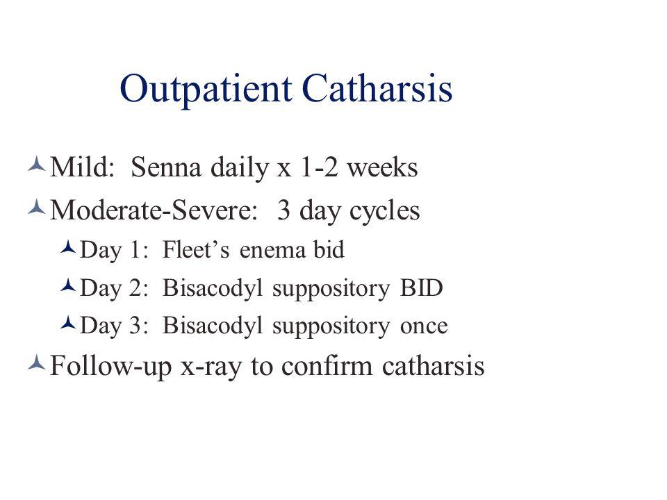 Outpatient Catharsis Mild: Senna daily x 1-2 weeks Moderate-Severe: 3 day cycles Day 1: Fleet's enema bid Day 2: Bisacodyl suppository BID Day 3: Bisa