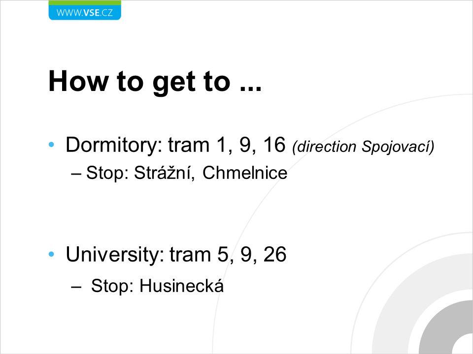 How to get to... Dormitory: tram 1, 9, 16 (direction Spojovací) –Stop: Strážní, Chmelnice University: tram 5, 9, 26 – Stop: Husinecká