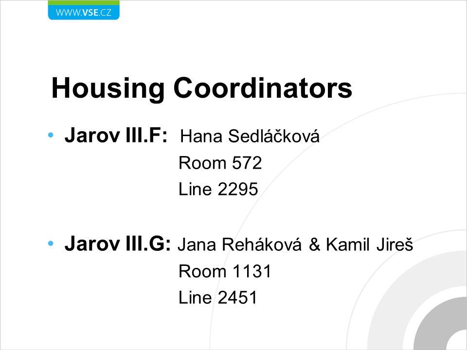 Housing Coordinators Jarov III.F: Hana Sedláčková Room 572 Line 2295 Jarov III.G: Jana Reháková & Kamil Jireš Room 1131 Line 2451
