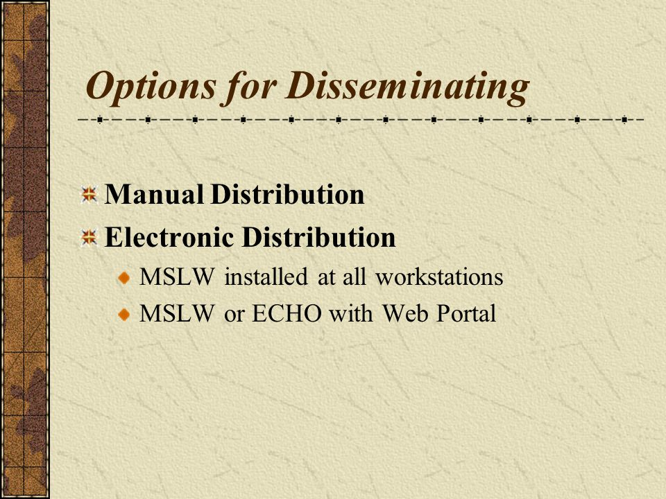 Options for Disseminating Manual Distribution Electronic Distribution MSLW installed at all workstations MSLW or ECHO with Web Portal