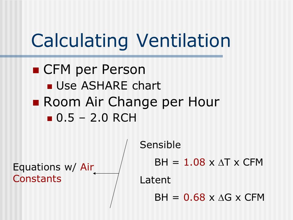 Calculating Ventilation CFM per Person Use ASHARE chart Room Air Change per Hour 0.5 – 2.0 RCH Sensible BH = 1.08 x T x CFM Latent BH = 0.68 x G x C