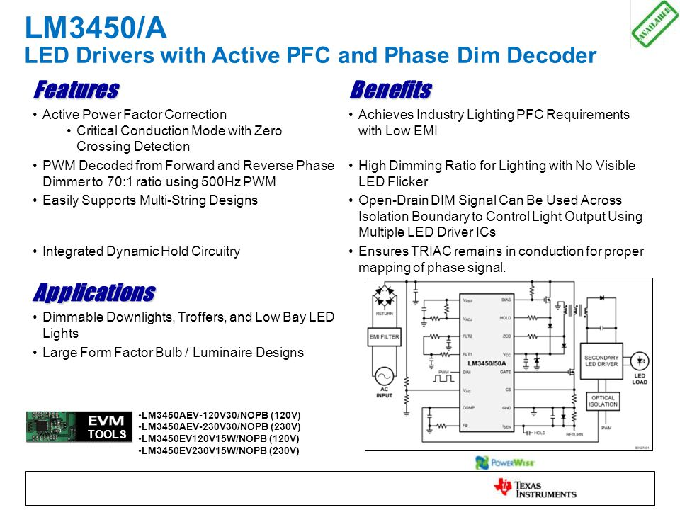 LM3450/A LED Drivers with Active PFC and Phase Dim Decoder FeaturesBenefits Active Power Factor Correction Critical Conduction Mode with Zero Crossing Detection Achieves Industry Lighting PFC Requirements with Low EMI PWM Decoded from Forward and Reverse Phase Dimmer to 70:1 ratio using 500Hz PWM High Dimming Ratio for Lighting with No Visible LED Flicker Easily Supports Multi-String DesignsOpen-Drain DIM Signal Can Be Used Across Isolation Boundary to Control Light Output Using Multiple LED Driver ICs Integrated Dynamic Hold CircuitryEnsures TRIAC remains in conduction for proper mapping of phase signal.