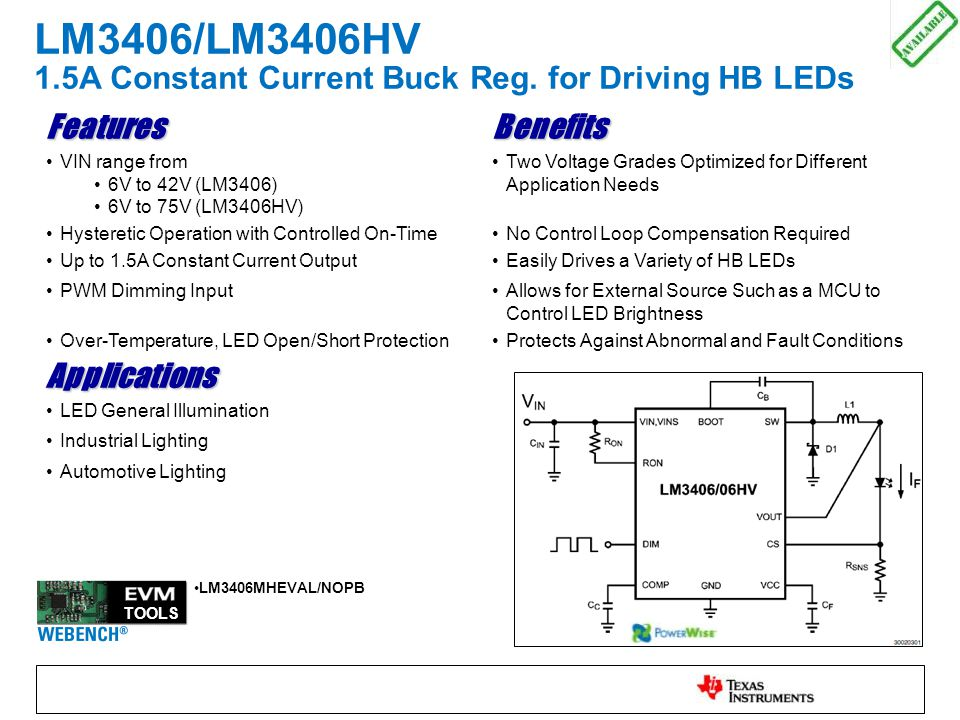 LM3406/LM3406HV 1.5A Constant Current Buck Reg.