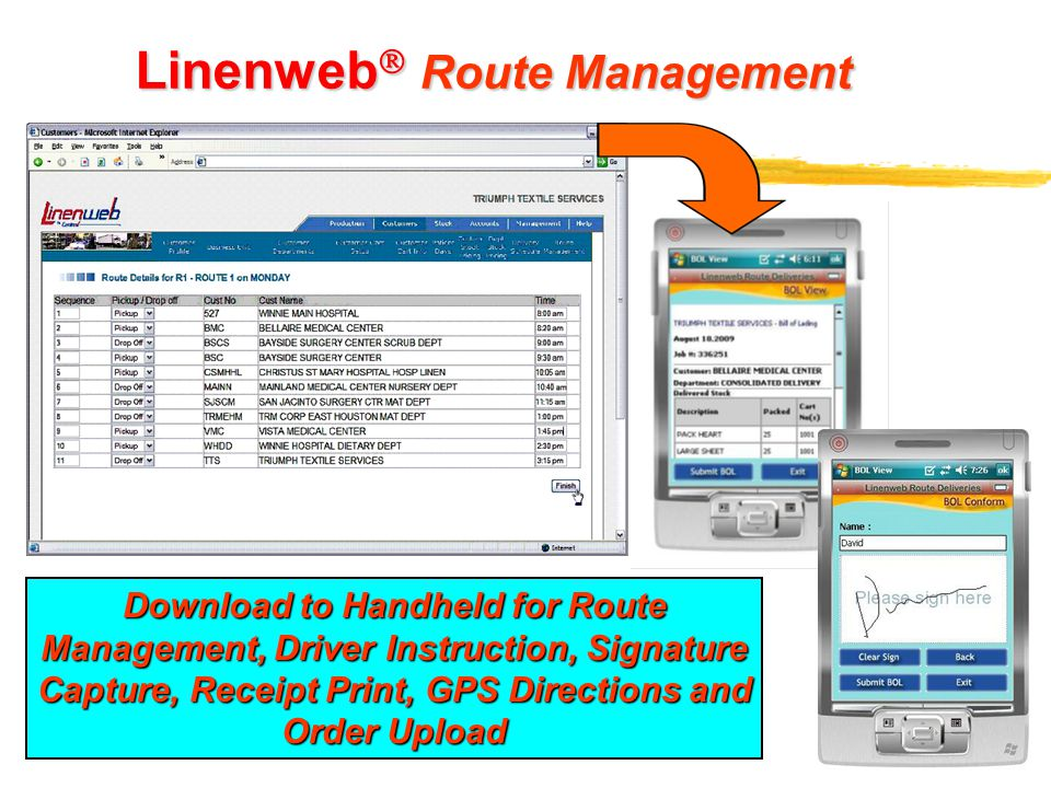 12 Linenweb  Route Management Download to Handheld for Route Management, Driver Instruction, Signature Capture, Receipt Print, GPS Directions and Ord