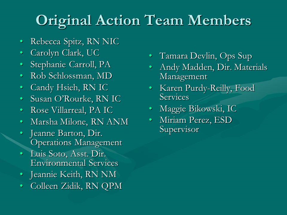 Original Action Team Members Rebecca Spitz, RN NICRebecca Spitz, RN NIC Carolyn Clark, UCCarolyn Clark, UC Stephanie Carroll, PAStephanie Carroll, PA