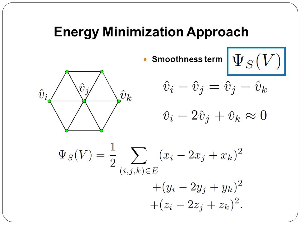 Smoothness term Energy Minimization Approach