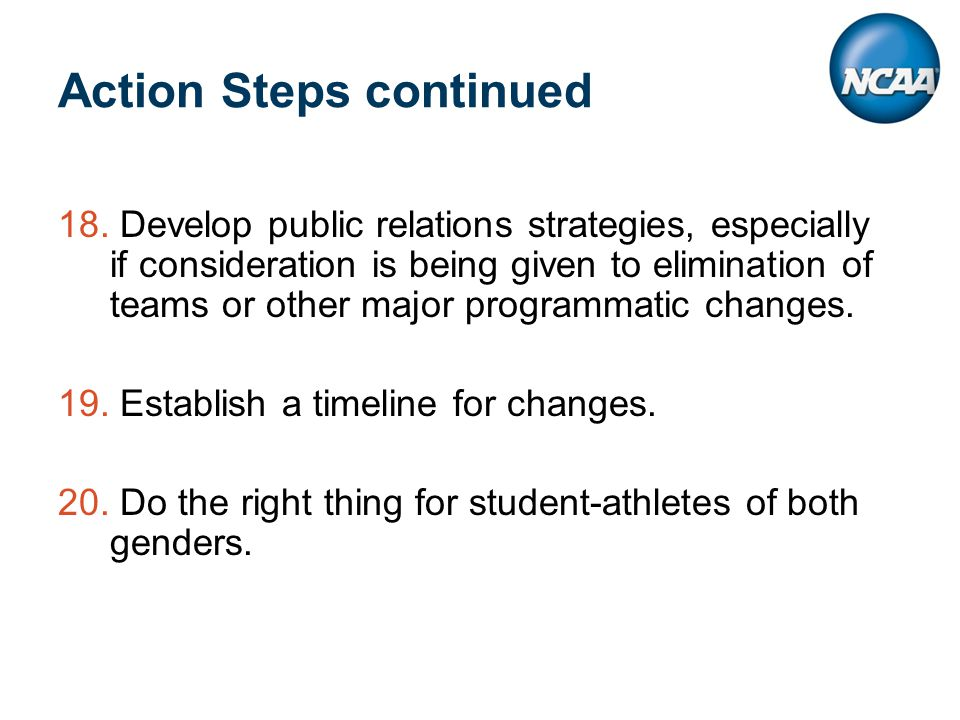 Action Steps continued 18.