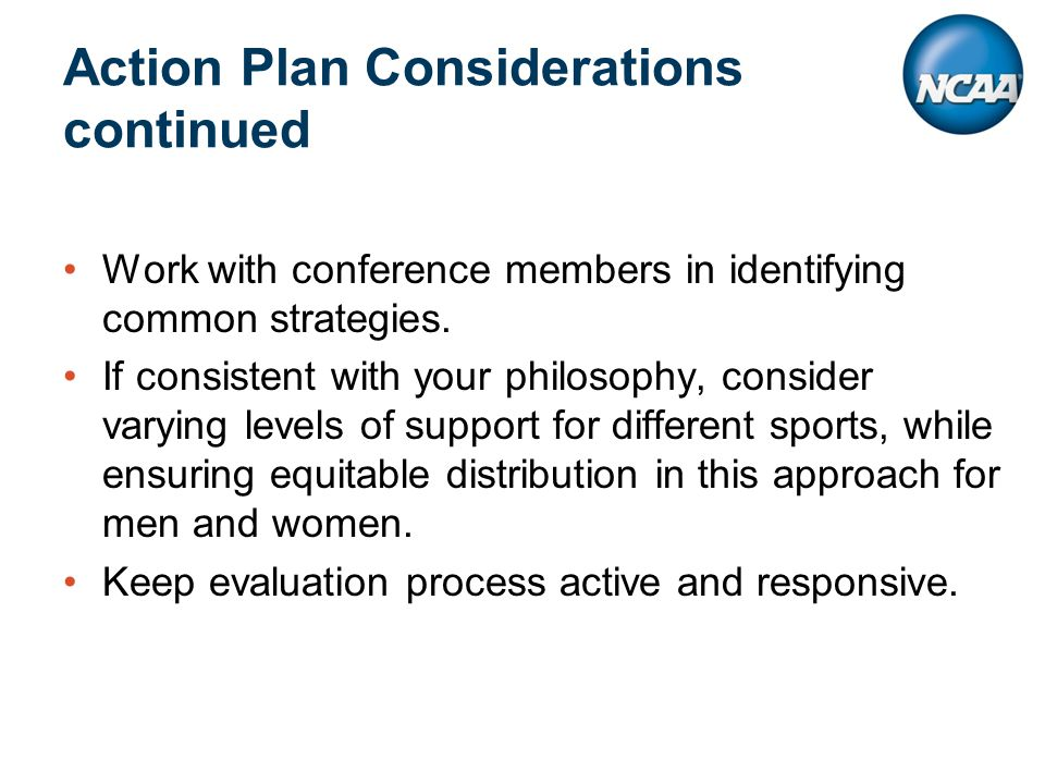 Action Plan Considerations continued Work with conference members in identifying common strategies.