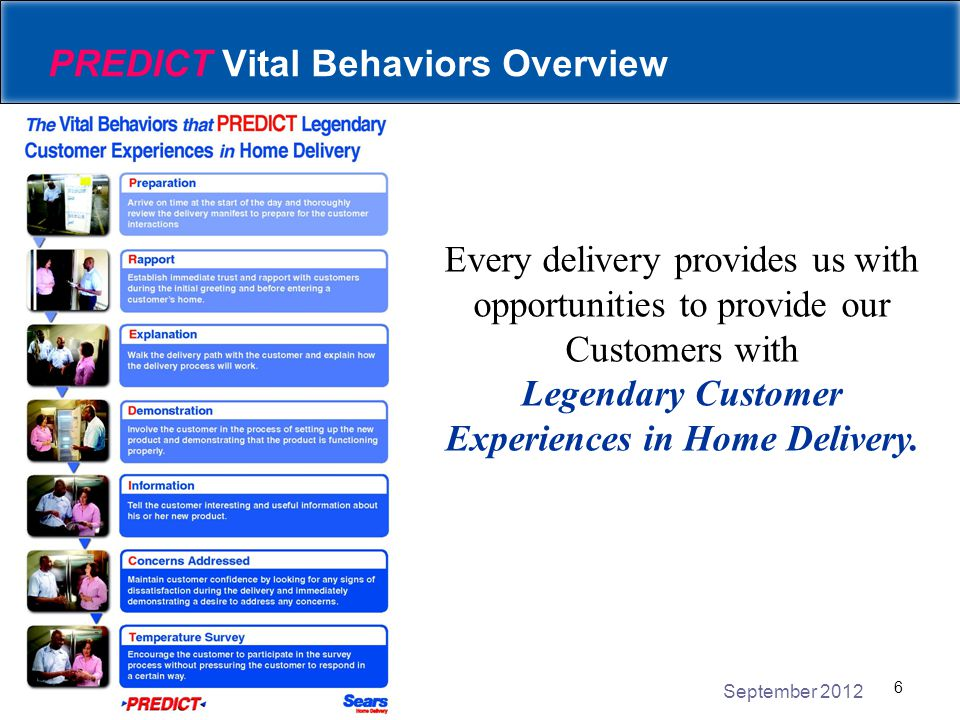 September 2012 7 PREDICT Vital Behaviors Overview On the next few slides, let's review how the following Vital Behaviors relate to Laundry: Explanation Demonstration Information Concerns Addressed