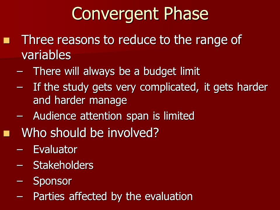 Convergent Phase Three reasons to reduce to the range of variables Three reasons to reduce to the range of variables –There will always be a budget li