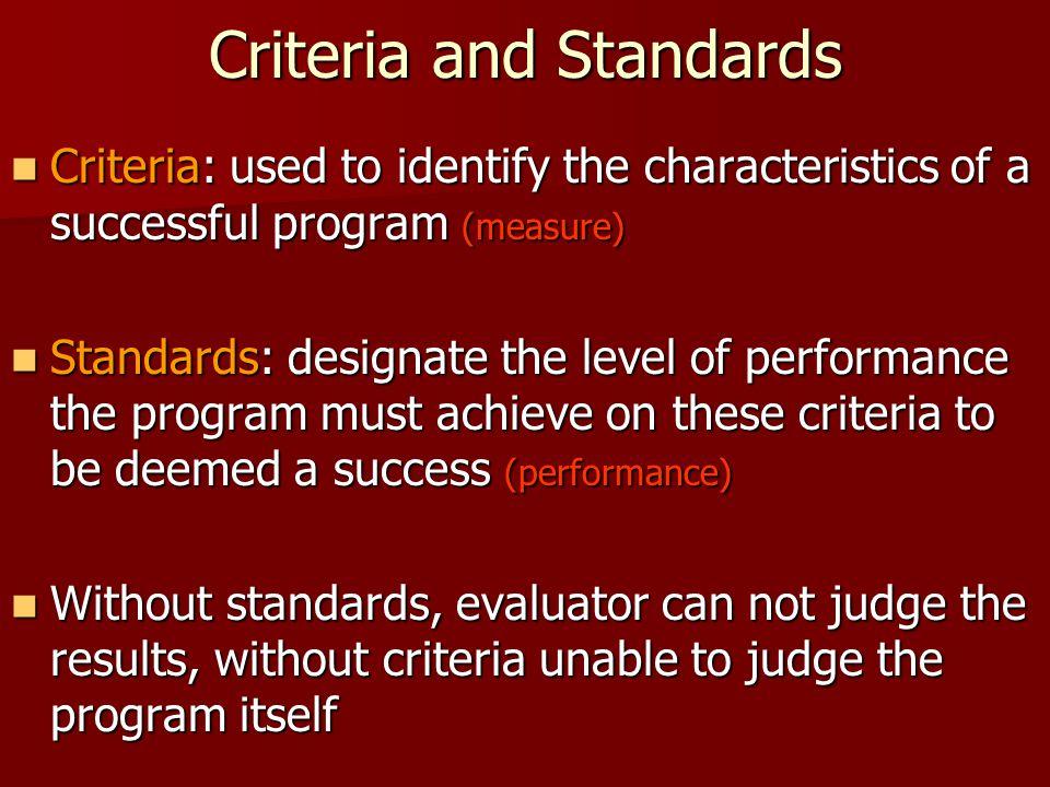 Criteria and Standards Criteria: used to identify the characteristics of a successful program (measure) Criteria: used to identify the characteristics