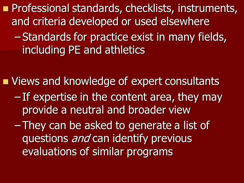 Professional standards, checklists, instruments, and criteria developed or used elsewhere Professional standards, checklists, instruments, and criteri