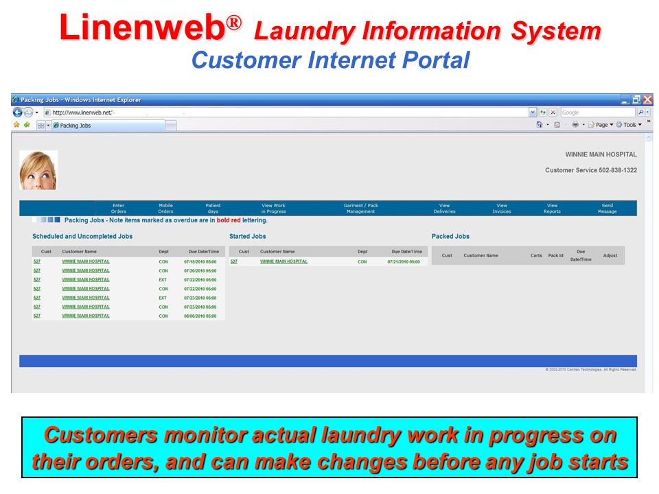 Linenweb ® Laundry Information System Linenweb ® Laundry Information System Customer Internet Portal Customers monitor actual laundry work in progress