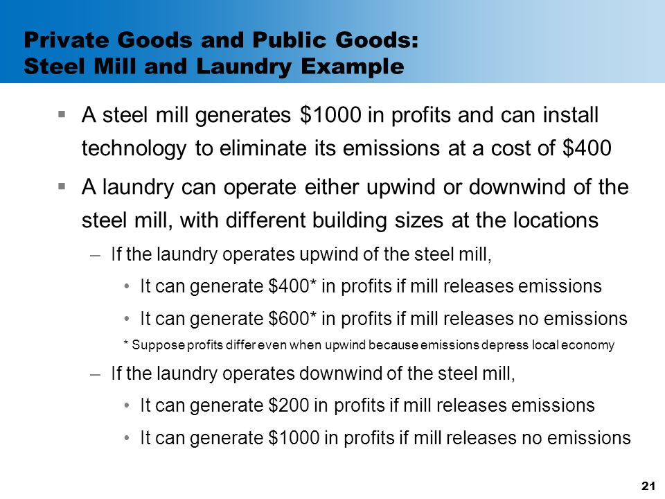 Private Goods and Public Goods: Steel Mill and Laundry Example  A steel mill generates $1000 in profits and can install technology to eliminate its e