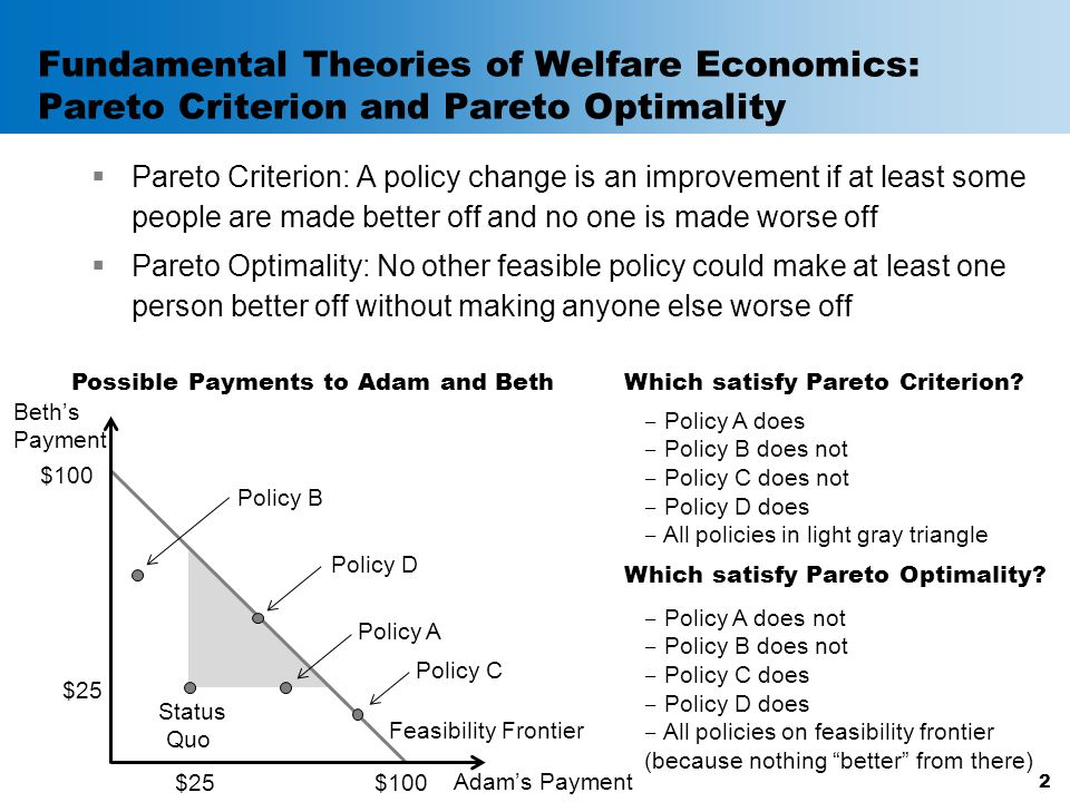 Fundamental Theories of Welfare Economics: Pareto Criterion and Pareto Optimality  Pareto Criterion: A policy change is an improvement if at least so