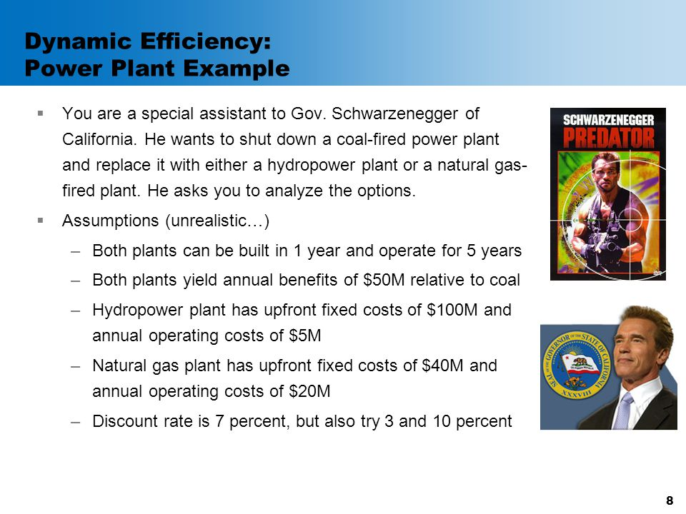 Dynamic Efficiency: Power Plant Example  You are a special assistant to Gov. Schwarzenegger of California. He wants to shut down a coal-fired power p