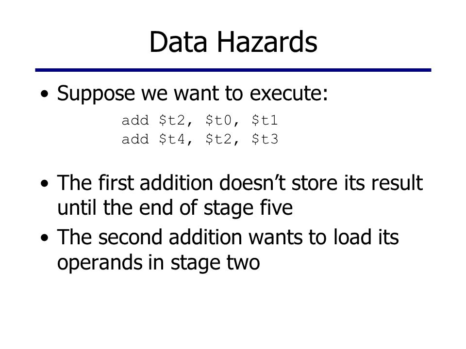 Data Hazards Suppose we want to execute: The first addition doesn't store its result until the end of stage five The second addition wants to load its operands in stage two add $t2, $t0, $t1 add $t4, $t2, $t3