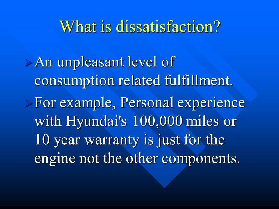 What is dissatisfaction.  An unpleasant level of consumption related fulfillment.