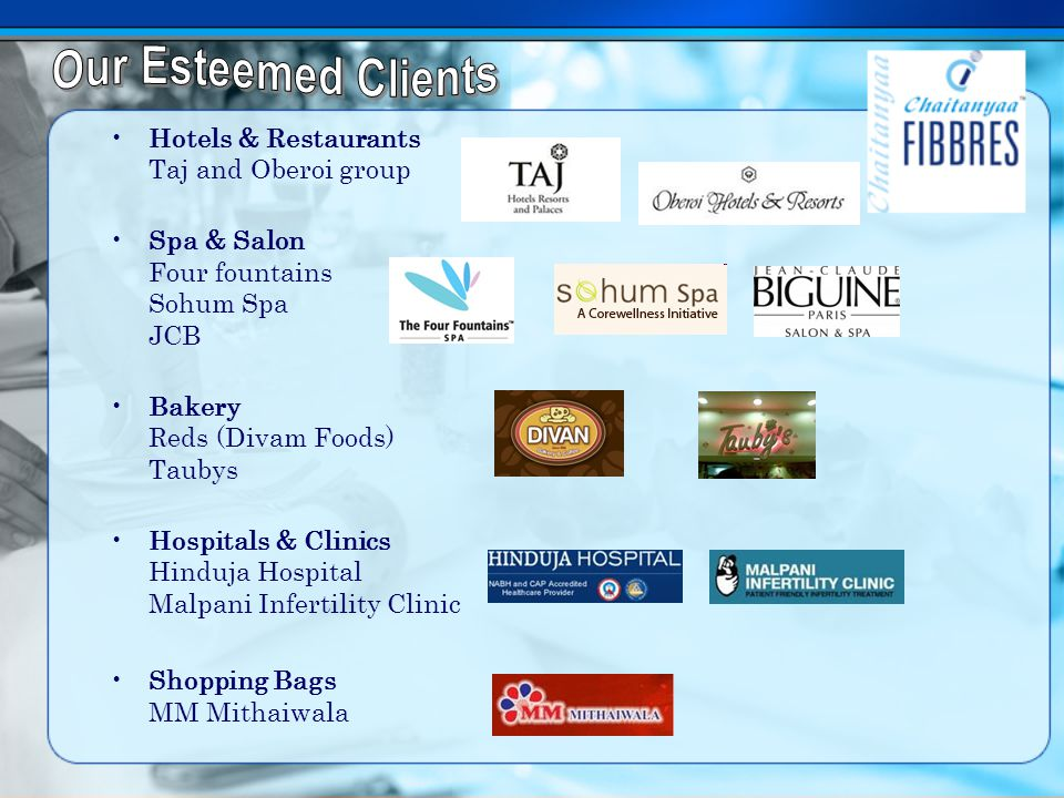 Hotels & Restaurants Taj and Oberoi group Spa & Salon Four fountains Sohum Spa JCB Bakery Reds (Divam Foods) Taubys Hospitals & Clinics Hinduja Hospital Malpani Infertility Clinic Shopping Bags MM Mithaiwala