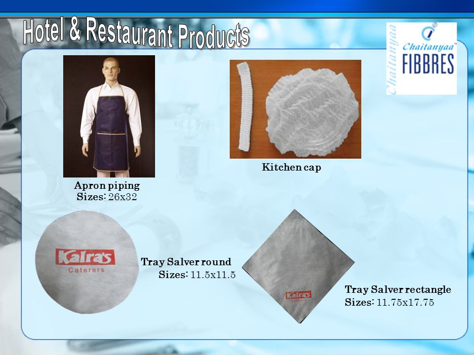Apron piping Sizes: 26x32 Tray Salver rectangle Sizes: 11.75x17.75 Tray Salver round Sizes: 11.5x11.5 Kitchen cap