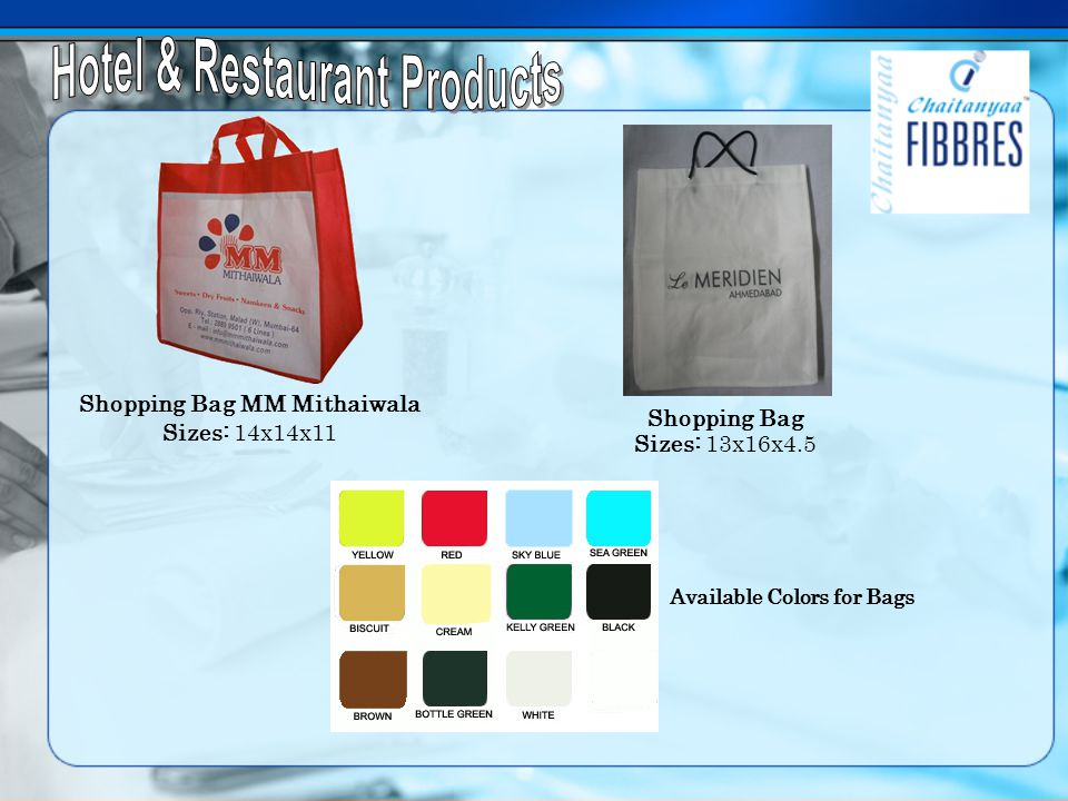 Shopping Bag MM Mithaiwala Sizes: 14x14x11 Shopping Bag Sizes: 13x16x4.5 Available Colors for Bags