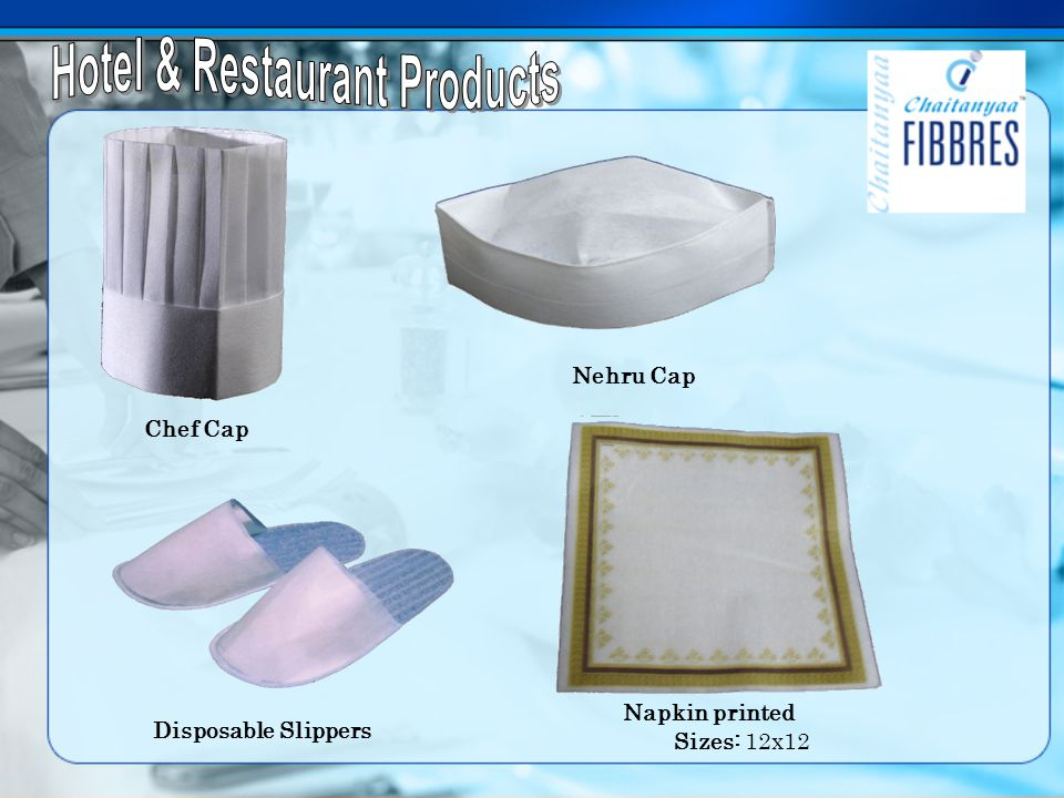 Chef Cap Nehru Cap Disposable Slippers Napkin printed Sizes: 12x12