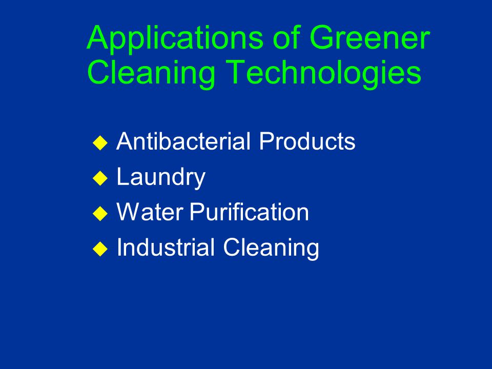 u Environmentally benign antibacterial agents n Alternatives to traditional chlorine or tin containing antibacterial agents u Applications n Bandages, sutures, hospital gowns, acne medication, toothpastes, air filters, antiviral agents USDA Antibacterial Products