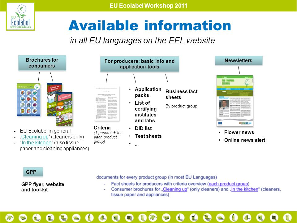 EU Ecolabel Workshop 2011 Available information Brochures for consumers For producers: basic info and application tools Business fact sheets By product group Flower news Online news alert GPP Application packs List of certifying institutes and labs DID list Test sheets...