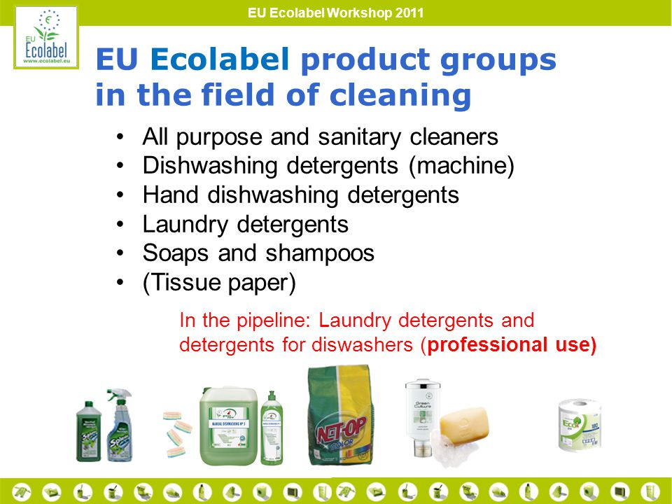 EU Ecolabel Workshop 2011 Limitation of the use of substances harmful for the aquatic environment 1.Critical Dilution Volume (CDV) 2.Biodegradability of organics 3.Excluded or limited substances or mixtures 4.etc.