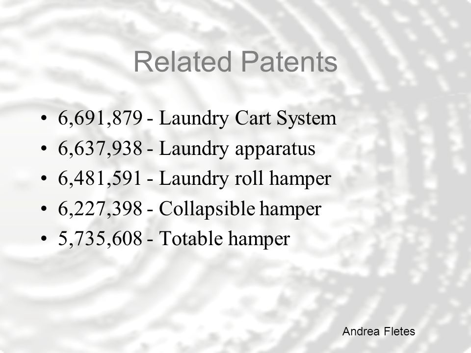 Related Patents Andrea Fletes 6,691,879 - Laundry Cart System 6,637,938 - Laundry apparatus 6,481,591 - Laundry roll hamper 6,227,398 - Collapsible ha