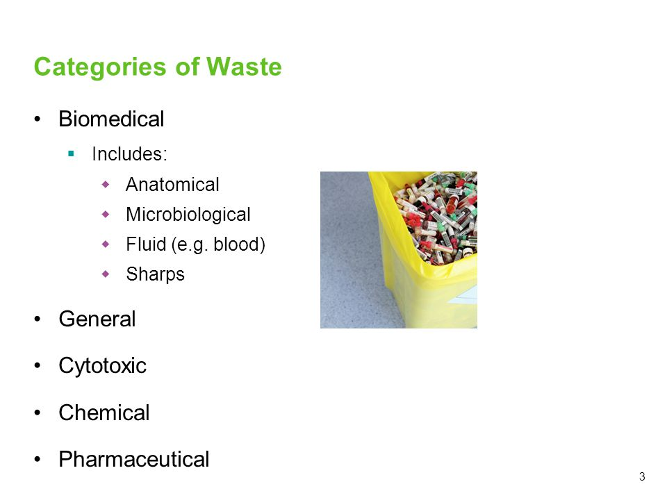 3 Categories of Waste Biomedical  Includes:  Anatomical  Microbiological  Fluid (e.g. blood)  Sharps General Cytotoxic Chemical Pharmaceutical