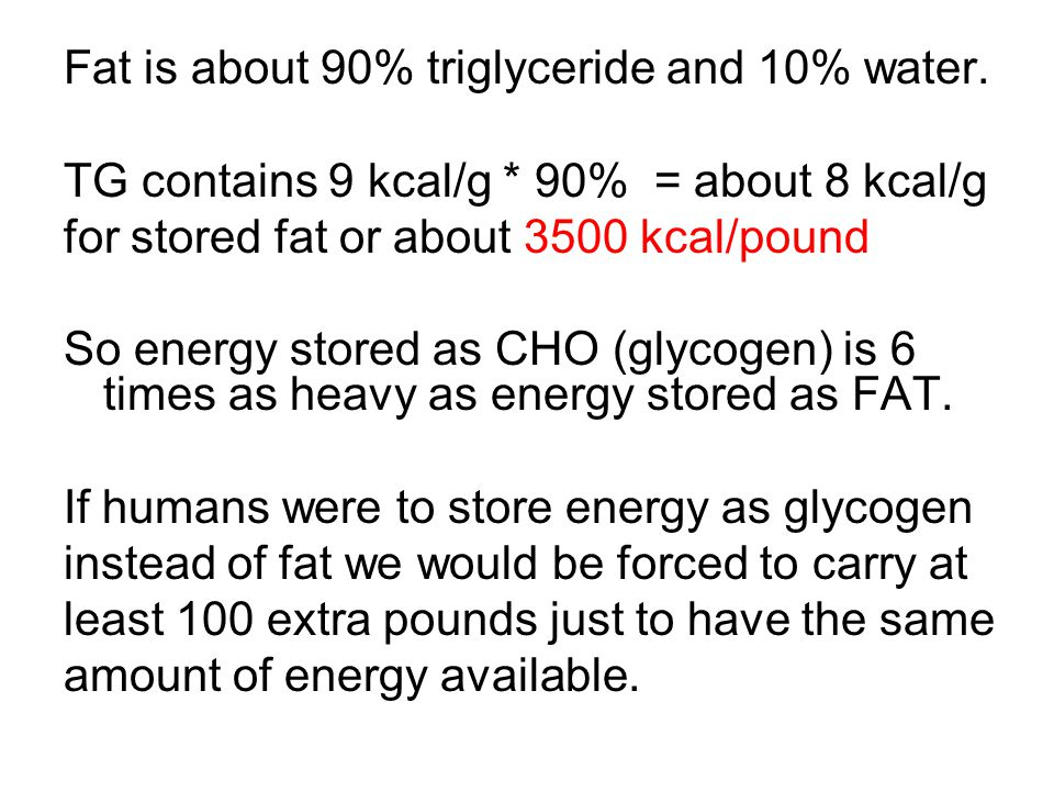 Fat is about 90% triglyceride and 10% water.