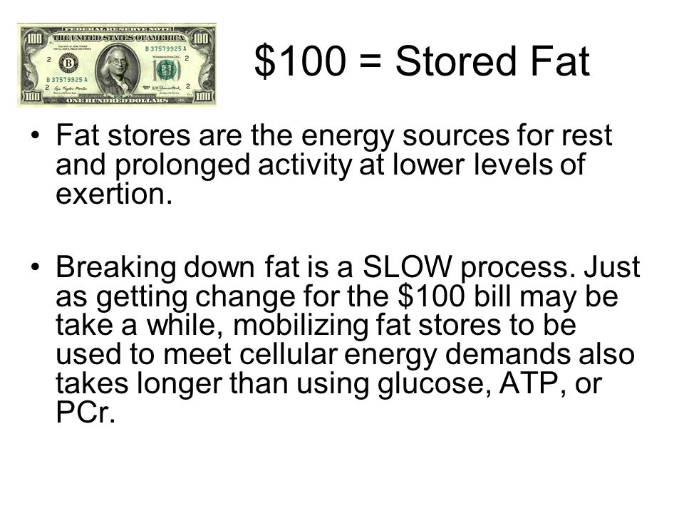 $100 = Stored Fat Fat stores are the energy sources for rest and prolonged activity at lower levels of exertion.