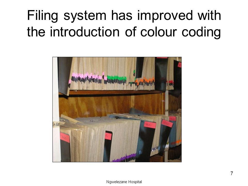 Ngwelezane Hospital 7 Filing system has improved with the introduction of colour coding