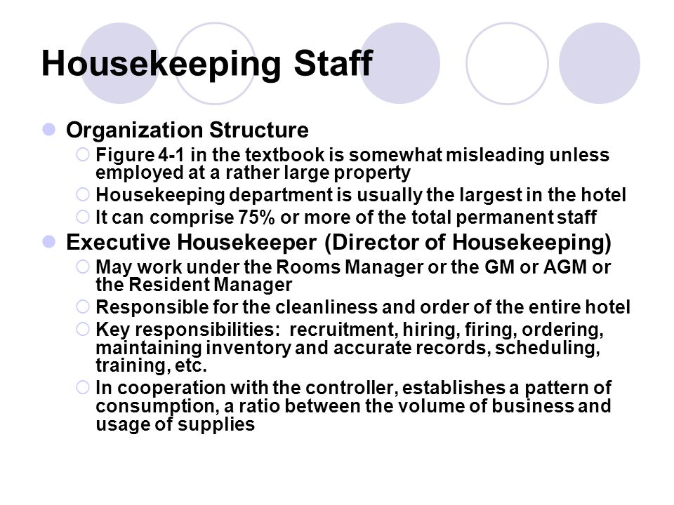 Relationship Between Housekeeping and Other Departments Absolutely essential  Usually becomes complicated and sometimes political Timing of housekeeping activities is affected by the requirements of other departments Essential that department head communicates to his or her staff that cooperation and flexibility are pertinent to the effective performance of their jobs and to the overall success of the hotel