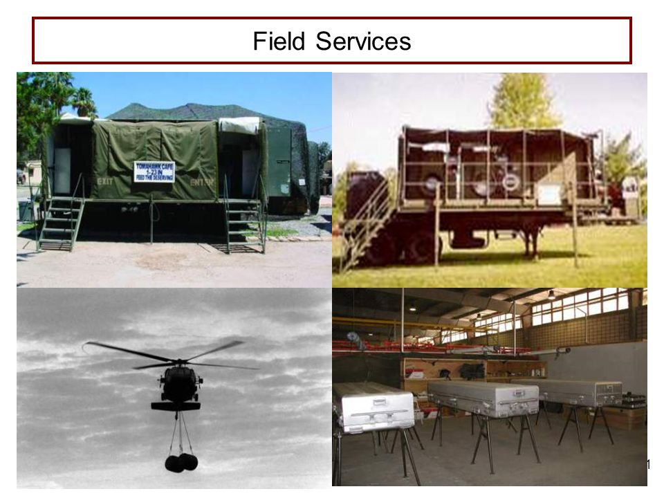 6 FEB 06 2 TLO and ELOs Terminal Learning Objective: Describe the considerations for field service and human resources support Enabling Learning Objectives: A.Describe the mission, capabilities, and employment of field services organizations B.Identify the categories of field services, the employment of elements providing field service support, and units providing quality of life support C.Identify procedures for determining field service support requirements and planning considerations D.Describe field service support considerations for offensive, defensive, stability and reconstruction, and civil support operations