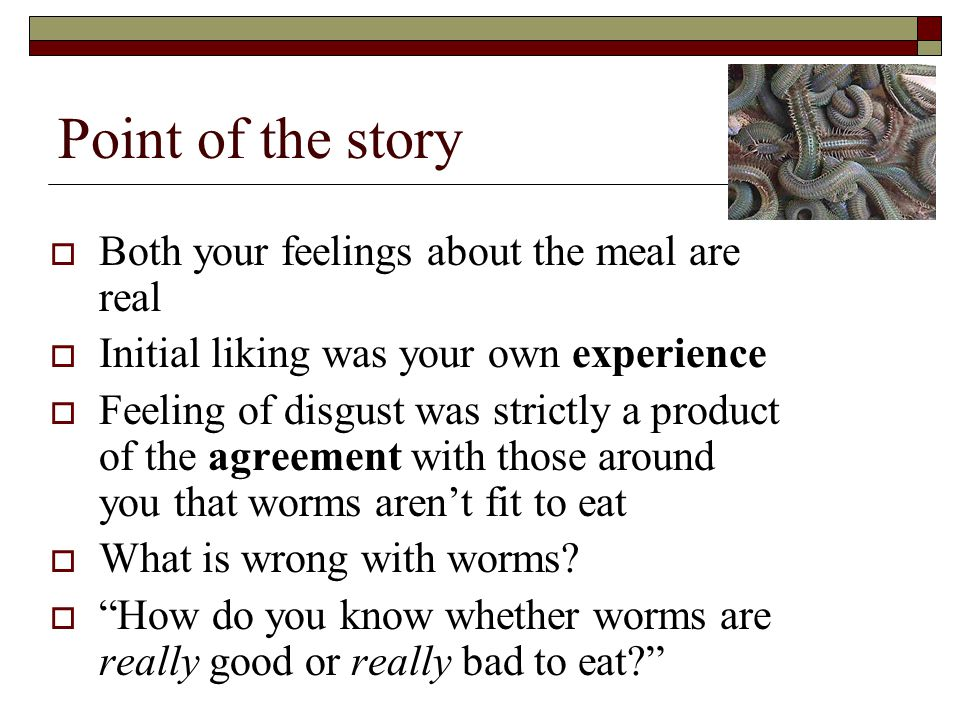 Point of the story  Both your feelings about the meal are real  Initial liking was your own experience  Feeling of disgust was strictly a product of the agreement with those around you that worms aren't fit to eat  What is wrong with worms.