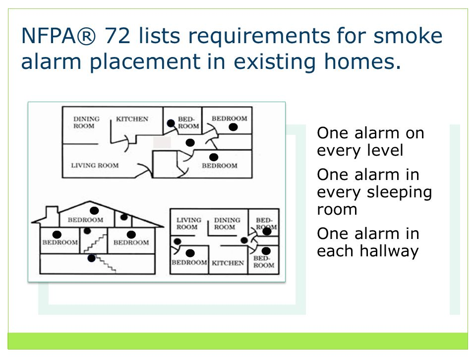 NFPA® 72 lists requirements for smoke alarm placement in existing homes.