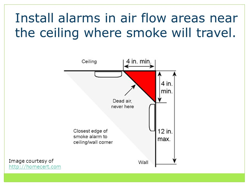 Install alarms in air flow areas near the ceiling where smoke will travel.