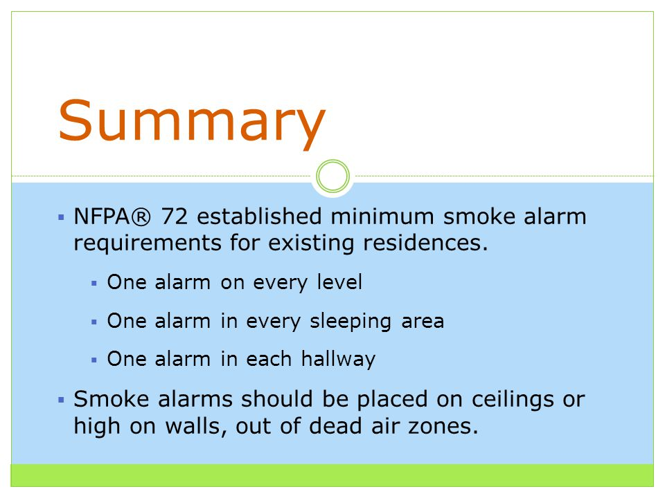  NFPA® 72 established minimum smoke alarm requirements for existing residences.