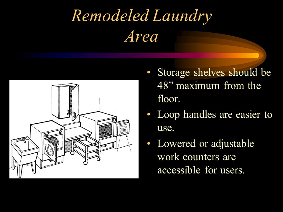 Remodeled Laundry Area Storage shelves should be 48 maximum from the floor.