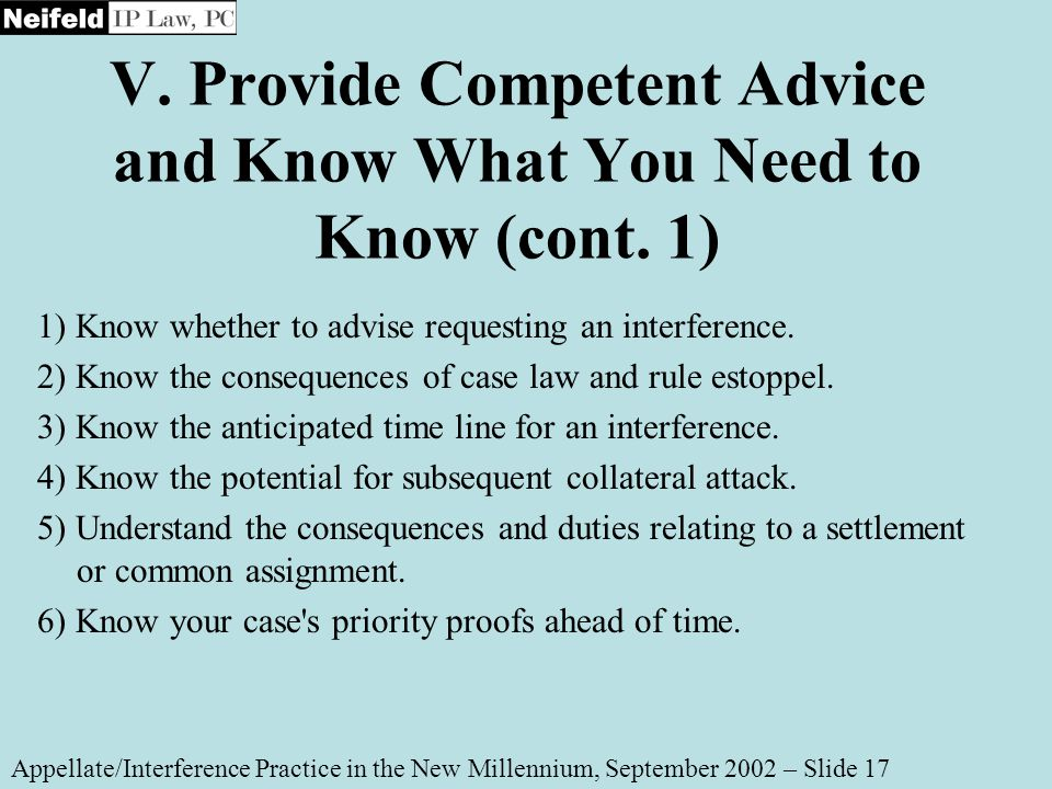 V. Provide Competent Advice and Know What You Need to Know (cont.