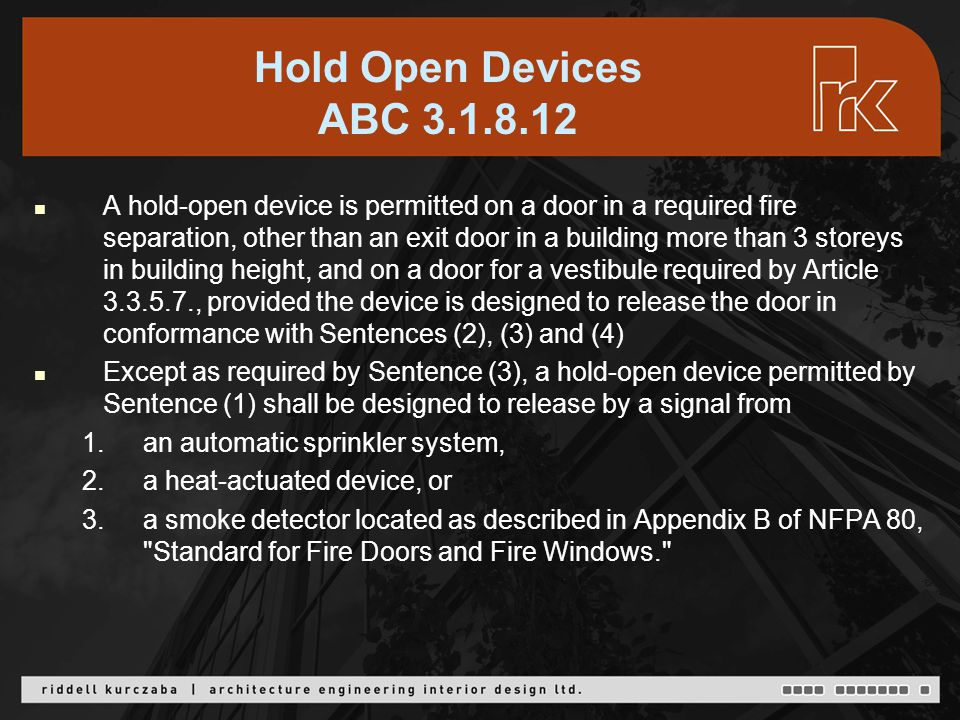 Hold Open Devices ABC 3.1.8.12 cont'd 3.3.