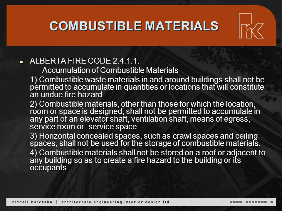 STORAGE ROOMS FOR COMBUSTIBLE WASTE MATERIALS ALBERTA FIRE CODE 2.4.1.2.