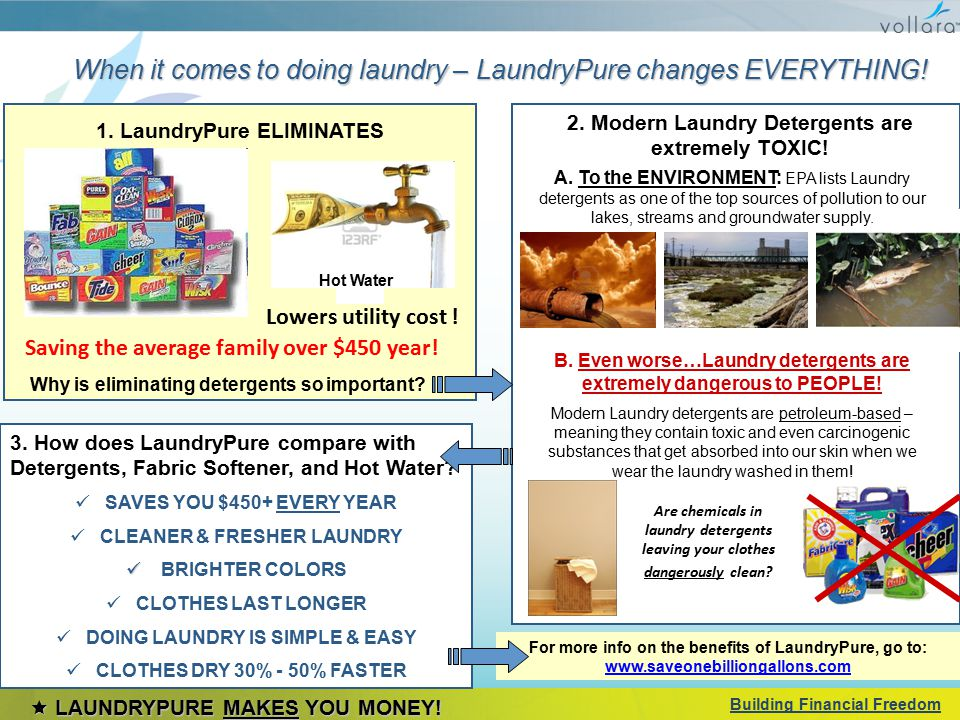 When it comes to doing laundry – LaundryPure changes EVERYTHING! 1. LaundryPure ELIMINATES Hot Water Why is eliminating detergents so important? 2. Mo